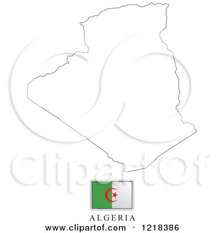 Clipart of a Algeria Flag And Map Outline - Royalty Free Vector Illustration by Lal Perera
