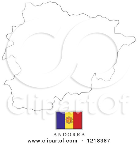 Clipart of a Andorra Flag And Map Outline - Royalty Free Vector Illustration by Lal Perera