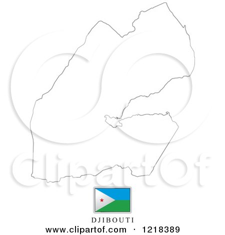 Clipart of a Djibouti Flag And Map Outline - Royalty Free Vector Illustration by Lal Perera