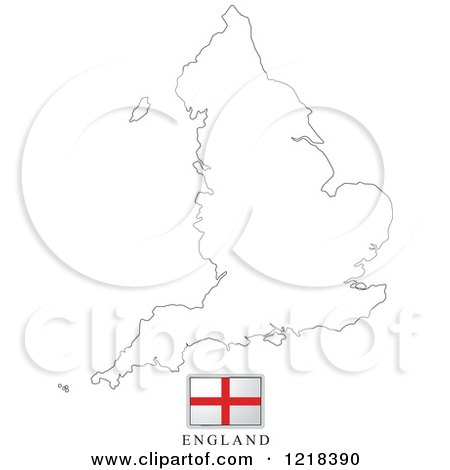 Clipart of a England Flag And Map Outline - Royalty Free Vector Illustration by Lal Perera