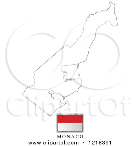 Clipart of a Monaco Flag And Map Outline - Royalty Free Vector Illustration by Lal Perera