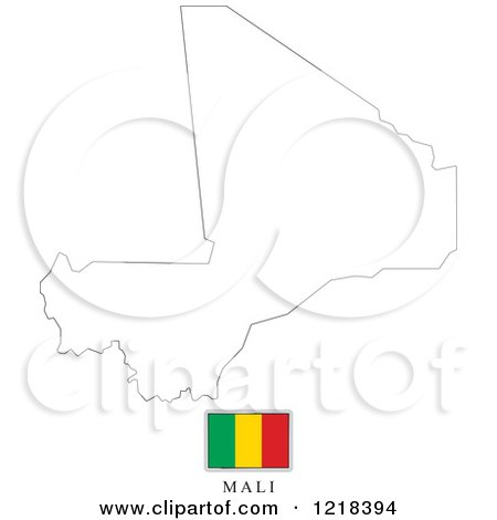 Clipart Of A Mali Flag And Map Outline