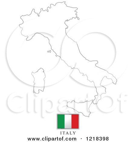Clipart of a Italy Flag And Map Outline - Royalty Free Vector Illustration by Lal Perera