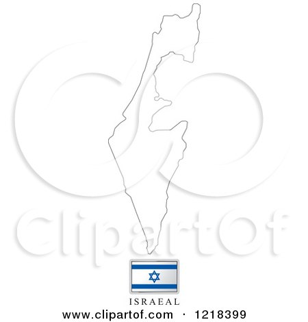 Clipart of a Israel Flag And Map Outline - Royalty Free Vector Illustration by Lal Perera