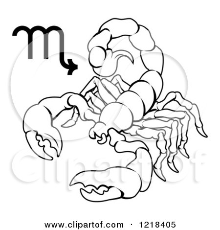 Clipart of a Black and White Astrology Zodiac Scorpio Scorpion and Symbol - Royalty Free Vector Illustration by AtStockIllustration
