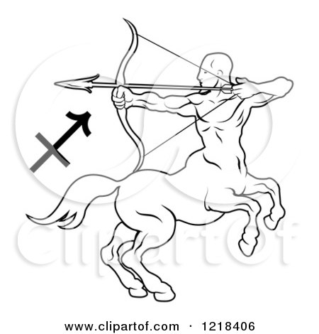 Clipart of a Black and White Astrology Zodiac Sagittarius Centaur and Symbol - Royalty Free Vector Illustration by AtStockIllustration