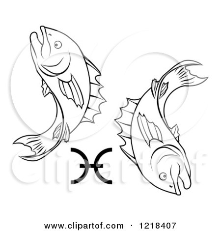 Clipart Of A Black And White Astrology Zodiac Pisces Fish Symbol