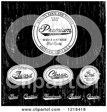 Clipart of Distressed White Quality Labels on Black - Royalty Free Vector Illustration by BestVector