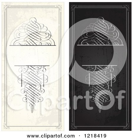 Clipart of Distressed Vertical Black and Beige Swirl Wedding Invitations - Royalty Free Vector Illustration by BestVector