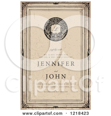 Clipart of a Vintage Distressed Wedding Invitation - Royalty Free Vector Illustration by BestVector