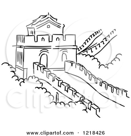 great wall of china coloring page - clipart of a black and white sketch of the great wall of