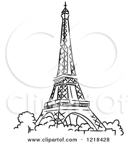 Black and white sketched eiffel tower 2 posters art prints