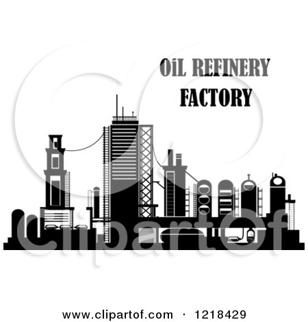 Clipart of a Black and White Oil Refinery Factory with ...