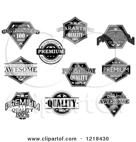 Clipart of Black and White Quality Labels with Sample Text - Royalty Free Vector Illustration by Vector Tradition SM