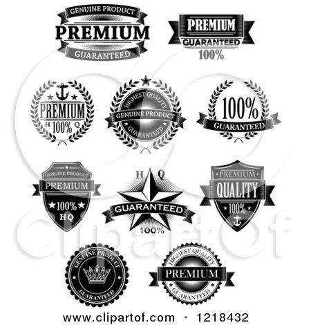 Clipart of Black and White Quality Labels with Sample Text 2 - Royalty Free Vector Illustration by Vector Tradition SM