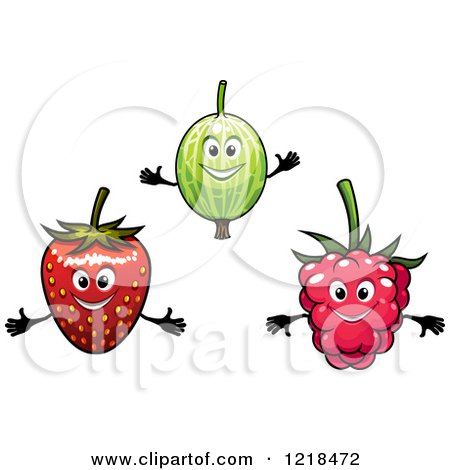 Clipart of Happy Gooseberry Strawberry and Raspberry Characters - Royalty Free Vector Illustration by Vector Tradition SM