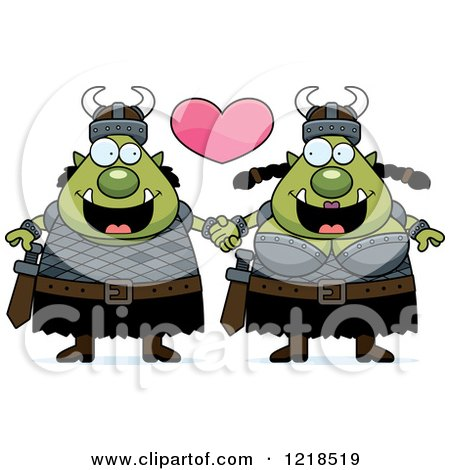 Clipart of a Happy Orc Couple Holding Hands Under a Heart - Royalty Free Vector Illustration by Cory Thoman