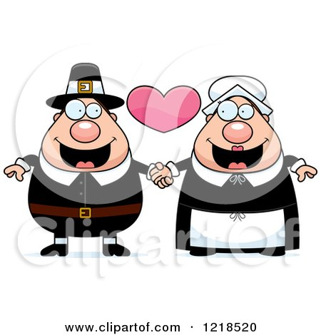 Clipart of a Pilgrim Couple Holding Hands Under a Heart - Royalty Free Vector Illustration by Cory Thoman
