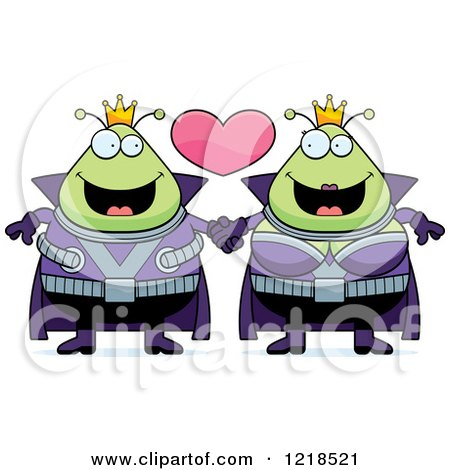 Clipart of a Martian Alien Couple Holding Hands Under a Heart - Royalty Free Vector Illustration by Cory Thoman