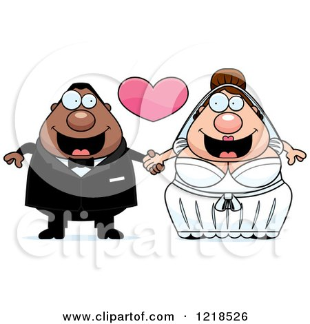 Clipart of a Mixed Race Wedding Couple Holding Hands Under a Heart 2 - Royalty Free Vector Illustration by Cory Thoman