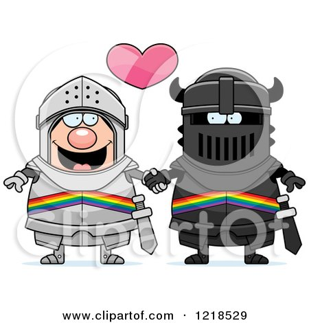 Clipart of a Gay Knight Couple Holding Hands Under a Heart 2 - Royalty Free Vector Illustration by Cory Thoman