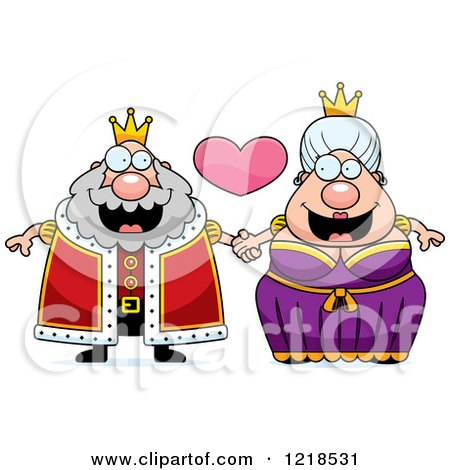 Clipart of a Royal Couple Holding Hands Under a Heart - Royalty Free Vector Illustration by Cory Thoman