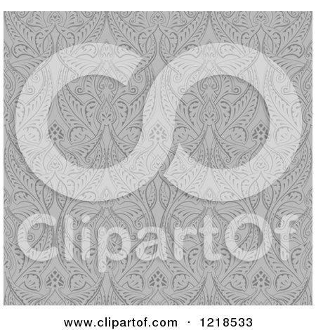 Clipart of a Grayscale Seamless Middle Eastern Pattern - Royalty Free Vector Illustration by AtStockIllustration