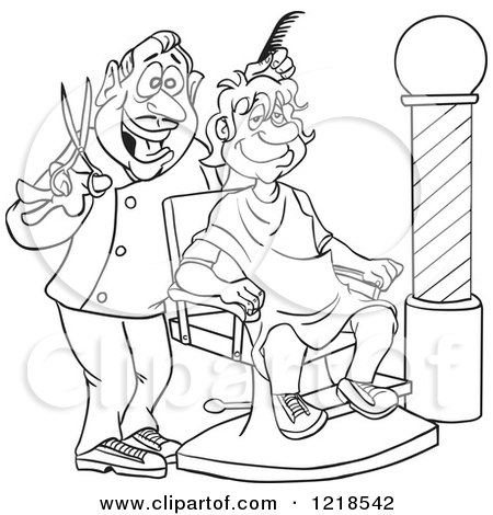 Outlined Happy Barber Cutting a Mans Hair Posters, Art Prints