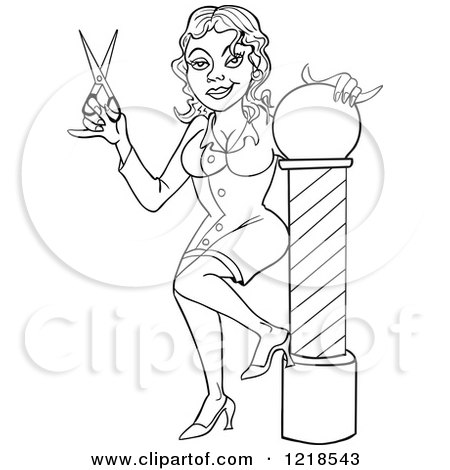 Cartoon of a Female Hairstylist Cutting a Clients Hair - Royalty ...