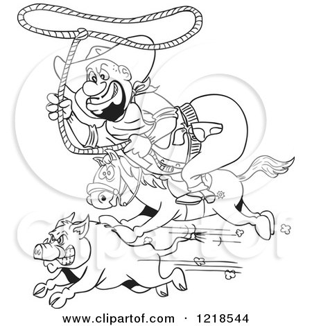 Clipart of an Outlined Fat Horseback Cowboy Chasing a Boar with a Lasso - Royalty Free Vector Illustration by LaffToon