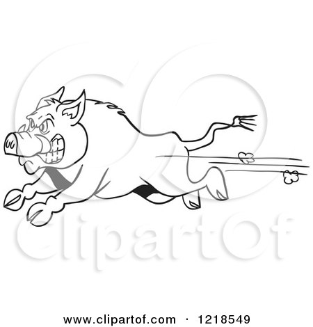 Clipart of an Angry Outlined Wild Pig Boar Running - Royalty Free Vector Illustration by LaffToon