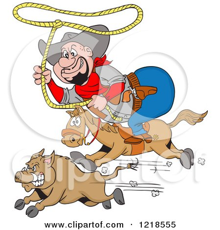 Clipart of a Horseback Fat Cowboy Chasing a Boar with a Lasso - Royalty Free Vector Illustration by LaffToon
