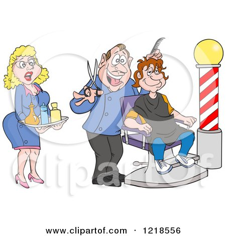 Female Assistant and Barber Cutting a Mans Hair Posters, Art Prints