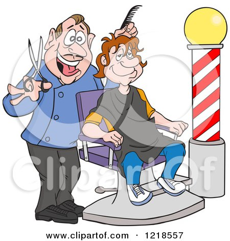 Clipart of a Happy Barber Cutting a Mans Hair - Royalty Free Vector Illustration by LaffToon