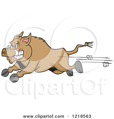 Clipart of an Angry Wild Pig Boar Running - Royalty Free Vector Illustration by LaffToon