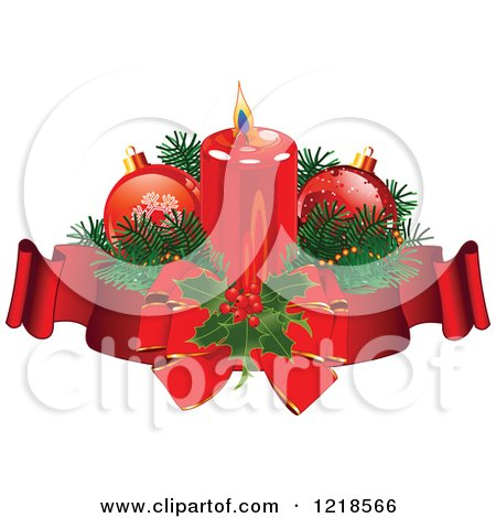 Clipart of a Christmas Candle with Baubles Holly and Ribbons - Royalty Free Vector Illustration by Pushkin