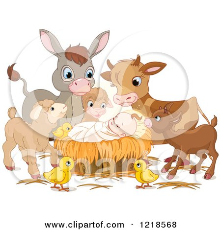 Clipart of a Baby Jesus Surrounded by Cute Animals - Royalty Free Vector Illustration by Pushkin