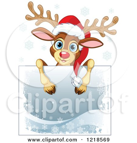 Clipart of a Cute Christmas Reindeer over a Sign, with Snowflakes - Royalty Free Vector Illustration by Pushkin