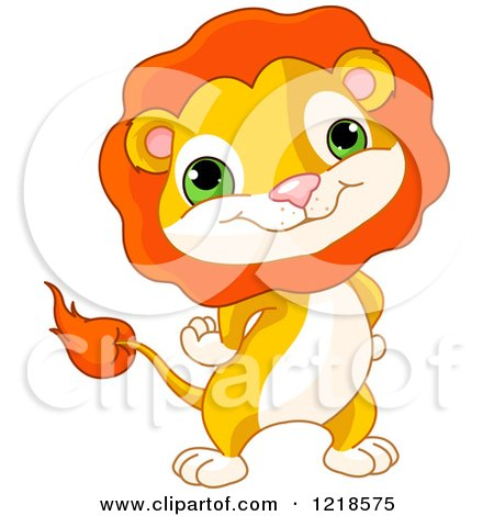 Clipart of a Cute Baby Lion Standing with His Hands on His Hips - Royalty Free Vector Illustration by Pushkin