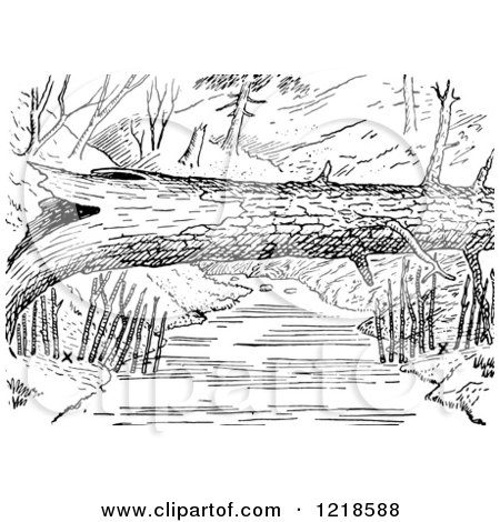Clipart of a Black and White Log over a River with Mink Traps on the Shore - Royalty Free Vector Illustration by Picsburg
