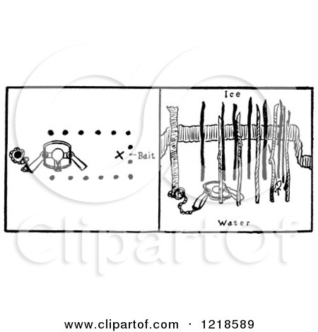 Clipart of an Otter Water Trap Set Under Ice - Royalty Free Vector Illustration by Picsburg