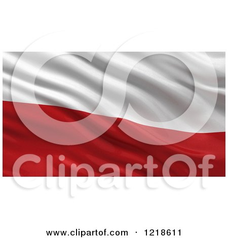 Clipart of a 3d Waving Flag of Poland with Rippled Fabric - Royalty Free Illustration by stockillustrations