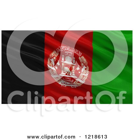Clipart of a 3d Waving Flag of Afghanistan with Rippled Fabric - Royalty Free Illustration by stockillustrations