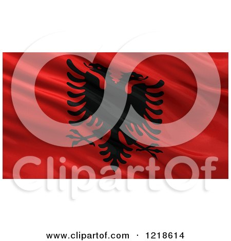 Clipart of a 3d Waving Flag of Albania with Rippled Fabric - Royalty Free Illustration by stockillustrations