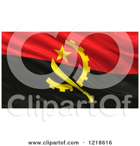 Clipart of a 3d Waving Flag of Angola with Rippled Fabric - Royalty Free Illustration by stockillustrations