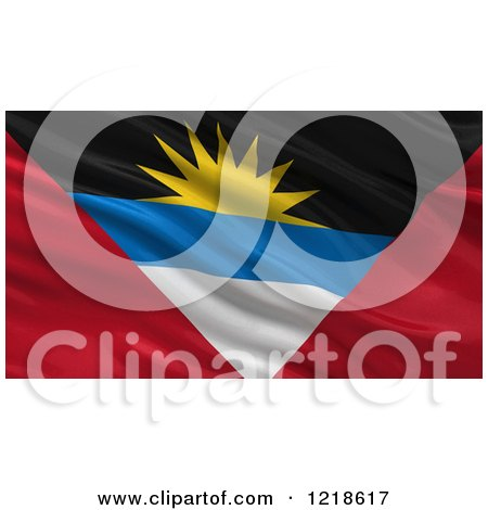 Clipart of a 3d Waving Flag of Antigua and Barbuda with Rippled Fabric - Royalty Free Illustration by stockillustrations