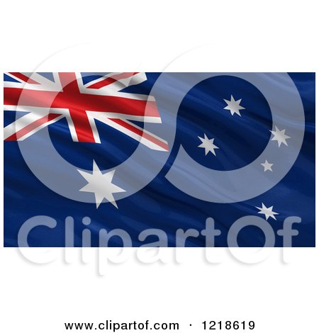 Clipart of a 3d Waving Flag of Australia with Rippled Fabric - Royalty Free Illustration by stockillustrations
