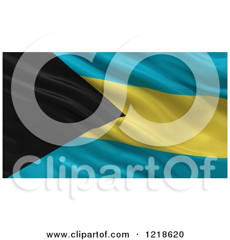 Clipart of a 3d Waving Flag of Bahamas with Rippled Fabric - Royalty Free Illustration by stockillustrations