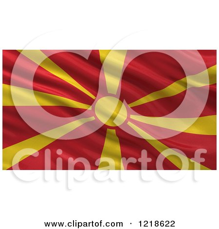 Clipart of a 3d Waving Flag of Macedonia with Rippled Fabric - Royalty Free Illustration by stockillustrations