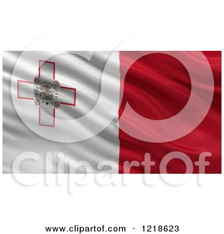 Clipart of a 3d Waving Flag of Malta with Rippled Fabric - Royalty Free Illustration by stockillustrations